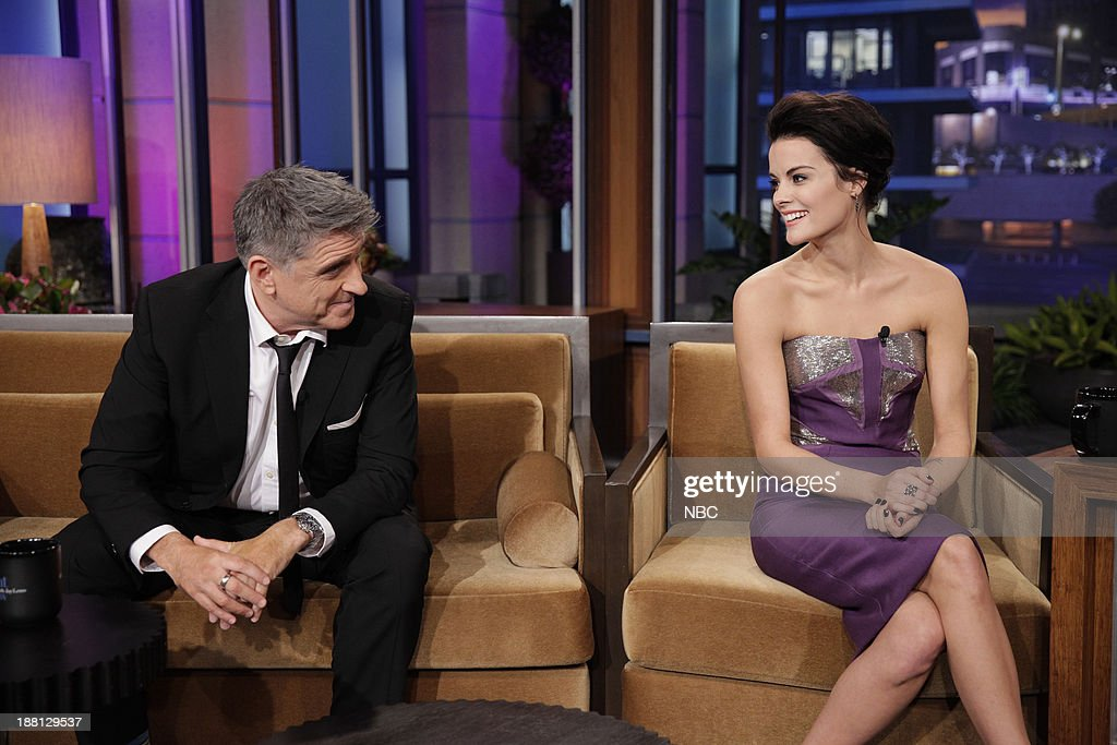 LENO -- (EXCLUSIVE COVERAGE) Episode 4567 -- Pictured: (l-r) Talk show host <a gi-track='captionPersonalityLinkClicked' href=/galleries/search?phrase=Craig+Ferguson+-+Talk+Show+Host&family=editorial&specificpeople=204509 ng-click='$event.stopPropagation()'>Craig Ferguson</a> with Actress <a gi-track='captionPersonalityLinkClicked' href=/galleries/search?phrase=Jaimie+Alexander&family=editorial&specificpeople=544496 ng-click='$event.stopPropagation()'>Jaimie Alexander</a> during a commercial break on November 14, 2013 --