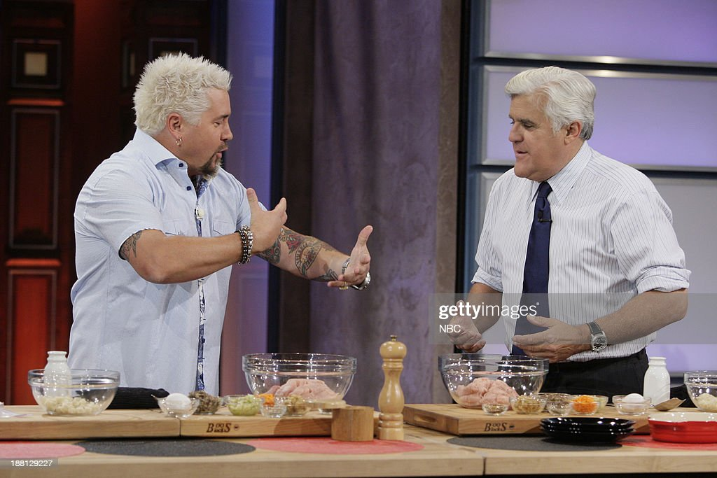 Chef Guy Fieri cooks with host Jay Leno on November 18, 2013 --