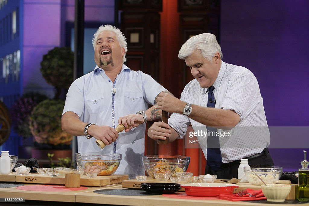Chef <a gi-track='captionPersonalityLinkClicked' href=/galleries/search?phrase=Guy+Fieri&family=editorial&specificpeople=4593795 ng-click='$event.stopPropagation()'>Guy Fieri</a> cooks with host Jay Leno on November 18, 2013 --