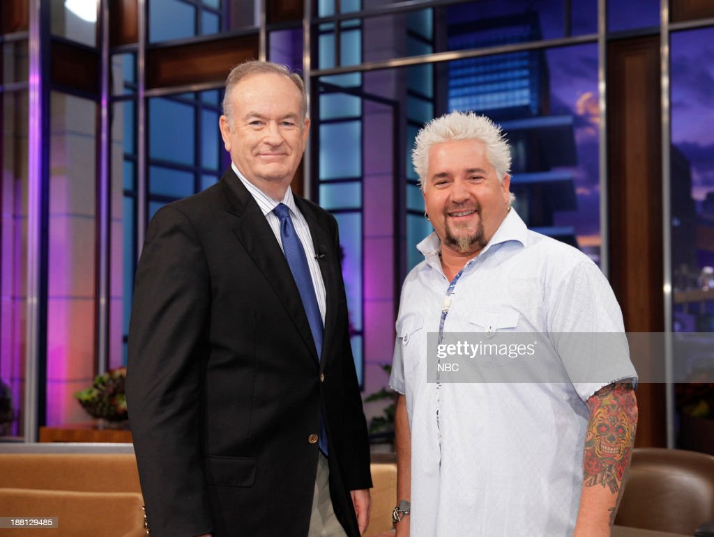 LENO -- (EXCLUSIVE COVERAGE)Episode 4568 -- Pictured: (l-r) Talk show host Bill O'Reilly, Chef <a gi-track='captionPersonalityLinkClicked' href=/galleries/search?phrase=Guy+Fieri&family=editorial&specificpeople=4593795 ng-click='$event.stopPropagation()'>Guy Fieri</a> during a commercial break on November 18, 2013 --