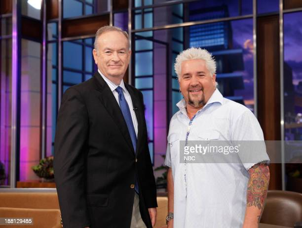 LENO Episode 4568 Pictured Talk show host Bill O'Reilly Chef Guy Fieri during a commercial break on November 18 2013