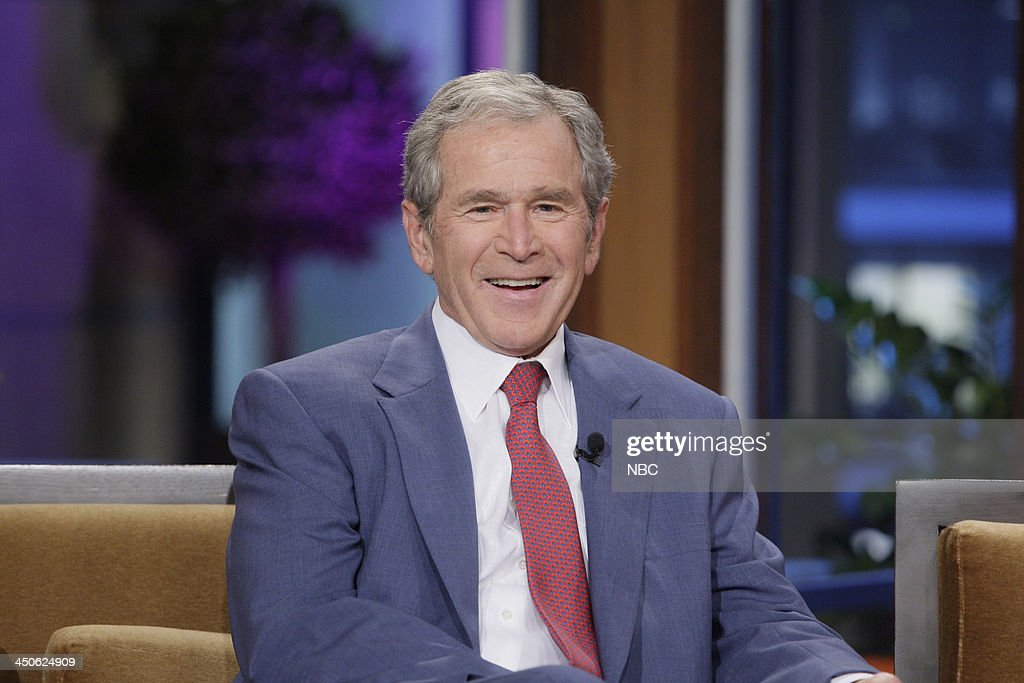 Former President <a gi-track='captionPersonalityLinkClicked' href=/galleries/search?phrase=George+W.+Bush&family=editorial&specificpeople=122011 ng-click='$event.stopPropagation()'>George W. Bush</a> during an interview on November 19, 2013 --