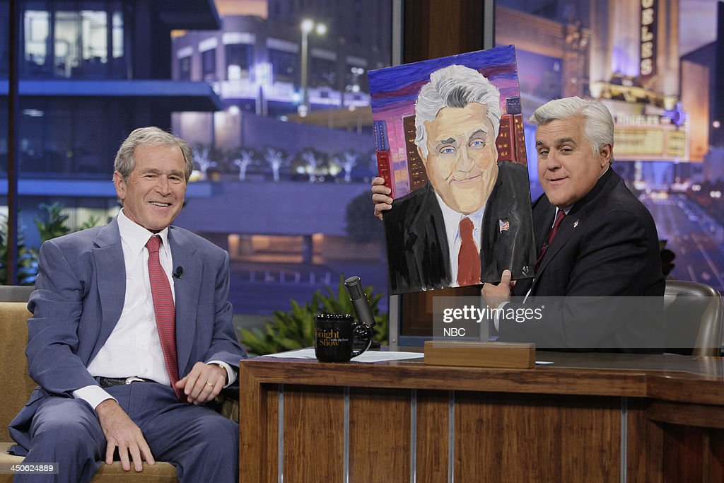 Former President <a gi-track='captionPersonalityLinkClicked' href=/galleries/search?phrase=George+W.+Bush&family=editorial&specificpeople=122011 ng-click='$event.stopPropagation()'>George W. Bush</a> during an interview with host Jay Leno on November 19, 2013 --