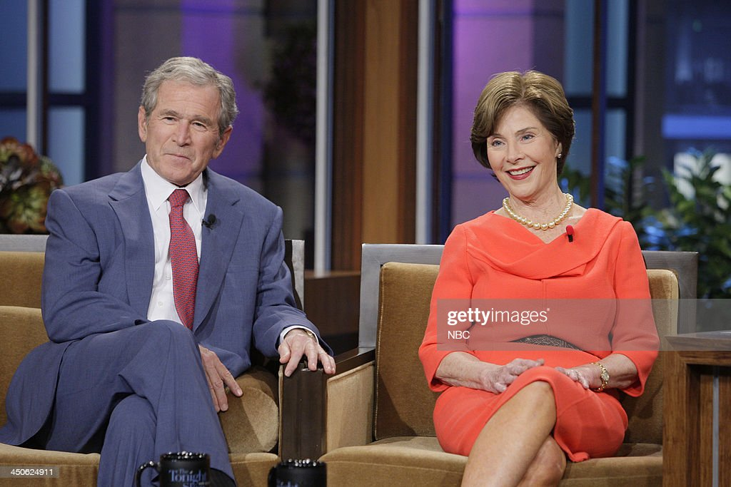 Former President <a gi-track='captionPersonalityLinkClicked' href=/galleries/search?phrase=George+W.+Bush&family=editorial&specificpeople=122011 ng-click='$event.stopPropagation()'>George W. Bush</a>, Former First Lady <a gi-track='captionPersonalityLinkClicked' href=/galleries/search?phrase=Laura+Bush&family=editorial&specificpeople=125185 ng-click='$event.stopPropagation()'>Laura Bush</a> during an interview on November 19, 2013 --