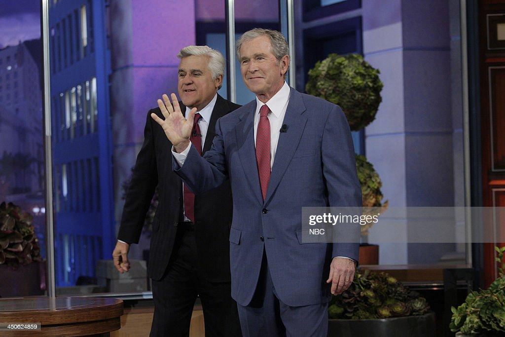 Host Jay Leno greets Former President George W. Bush on November 19, 2013 --