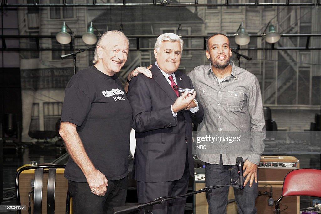 Musical guests Charlie Musselwhite, host Jay Leno, Ben Harper onstage November 19, 2013 --
