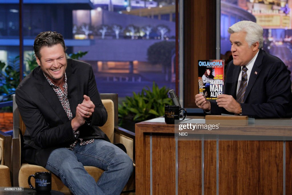 Country singer Blake Shelton during an interview with host Jay Leno on November 20, 2013 --