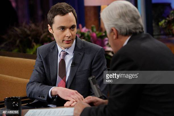 LENO Episode 4573 Pictured Actor Jim Parsons talks with host Jay Leno during a commercial break on November 22 2013