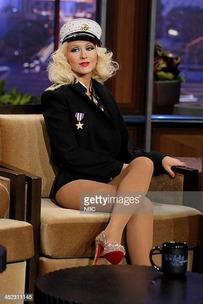 Singer Christina Aguilera during an interview with host Jay Leno on November 28 2013