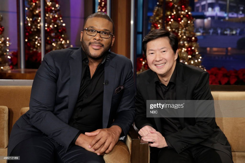 LENO Episode 4580 Pictured Director Tyler Perry and actor Ken Jeong during a commerical break on December 11 2013