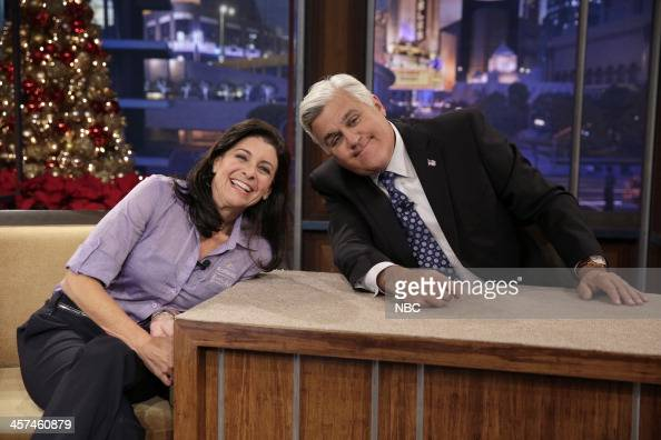 LENO Episode 4584 Pictured Animal expert Julie Scardina and host Jay Leno during a commercial break on December 17 2013