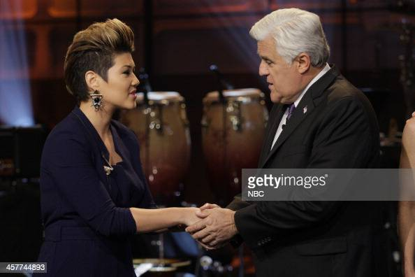 'The Voice' Winner Tessanne Chin and host Jay Leno on December 18 2013