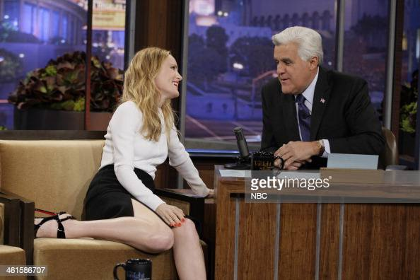LENO Episode 4591 Pictured Actress Leslie Mann talks with host Jay Leno during a commercial break on January 9 2014