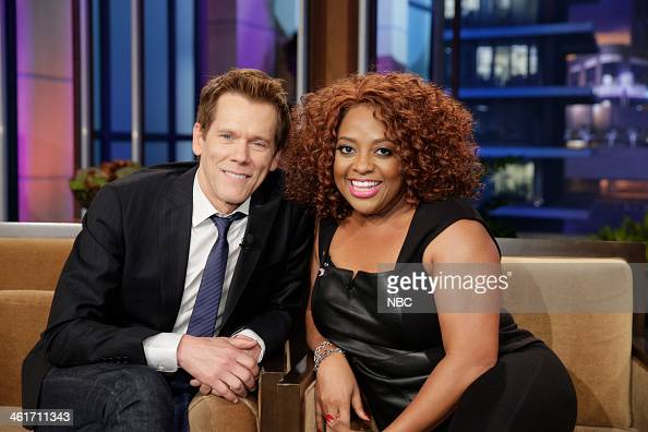 LENO Episode 4592 Pictured Actor Kevin Bacon talks with comedian Sherri Shepherd during a commercial break on January 10 2014