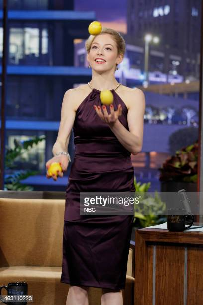 Figure skater Gracie Gold juggles during an interview on January 16 2014