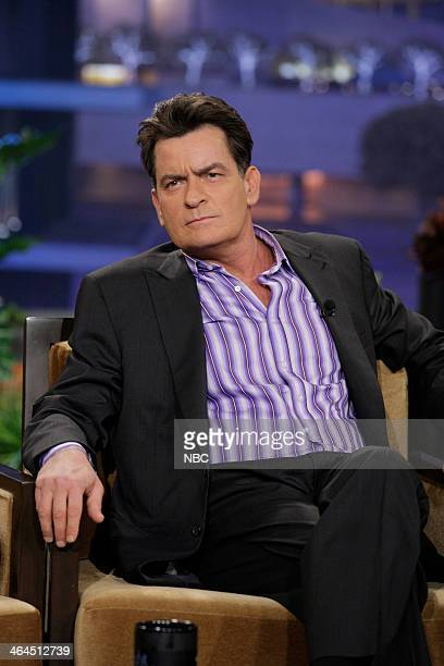 LENO Episode 4599 Pictured Actor Charlie Sheen during a commerical break on January 22 2014