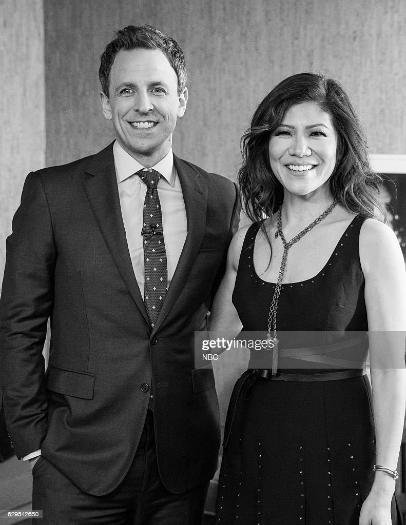 MEYERS -- (EXCLUSIVE COVERAGE) -- Episode 460 -- Pictured: (l-r) Host Seth Meyer and tv personality Julie Chen backstage on December 12, 2016 --