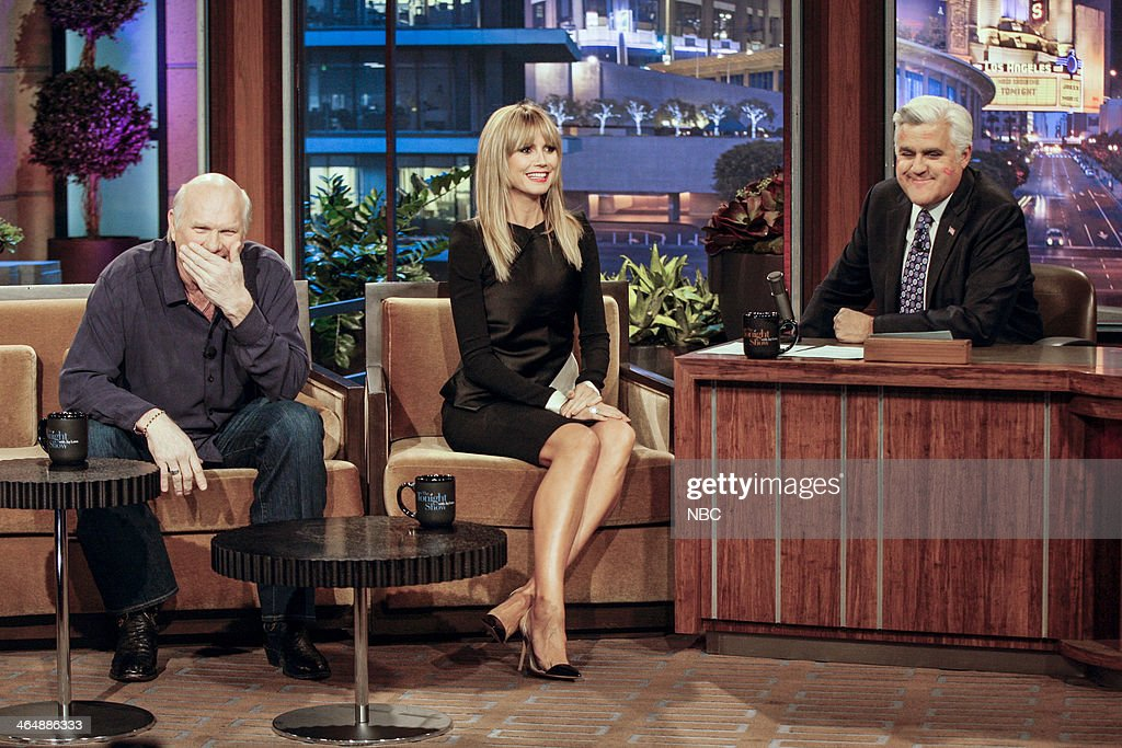Former football player Terry Bradshaw and supermodel Heidi Klum during an interview with host Jay Leno on January 24 2014