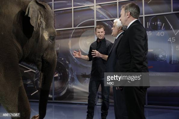 Animal expert Dave Salmoni and his elephant Rosie during an interview with host Jay Leno and comeidan Tim Allen on January 31 2014