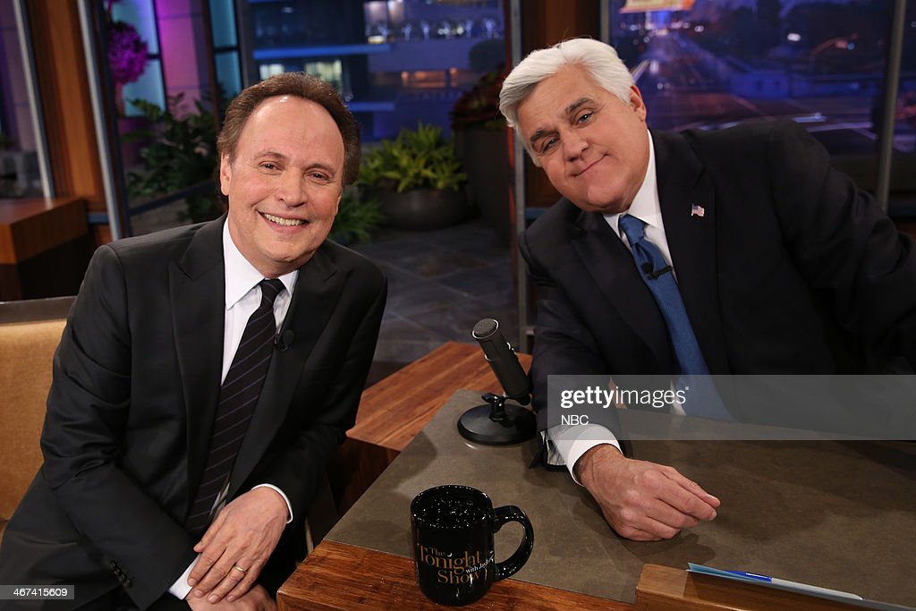 LENO -- Episode 4610 -- (EXCLUSIVE COVERAGE) -- Pictured: (l-r) Actor Billy Crystal and host Jay Leno on February 6, 2014 --