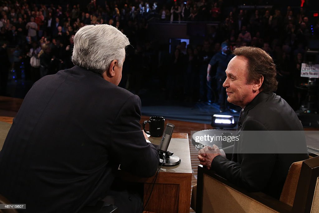 LENO -- Episode 4610 -- (EXCLUSIVE COVERAGE) -- Pictured: (l-r) Host <a gi-track='captionPersonalityLinkClicked' href=/galleries/search?phrase=Jay+Leno+-+Television+Host&family=editorial&specificpeople=156431 ng-click='$event.stopPropagation()'>Jay Leno</a> talks with actor Billy Crystal during a commercial break on February 6, 2014 --