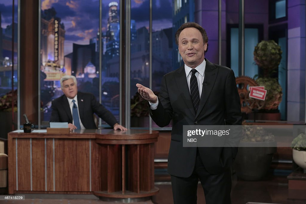 Host <a gi-track='captionPersonalityLinkClicked' href=/galleries/search?phrase=Jay+Leno+-+Television+Host&family=editorial&specificpeople=156431 ng-click='$event.stopPropagation()'>Jay Leno</a> watches as actor Billy Crystal reminisces on Jay's 22 season run on the Tonight Show on February 6, 2014 --