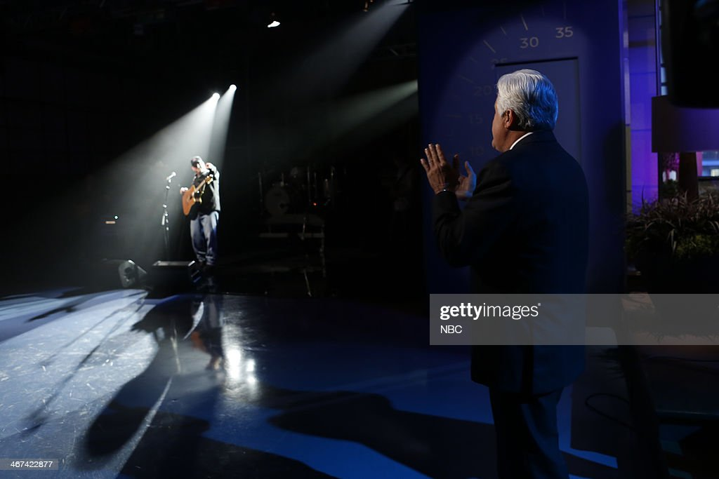 Host Jay Leno watches as musical guest Garth Brooks performs on February 6, 2014 --