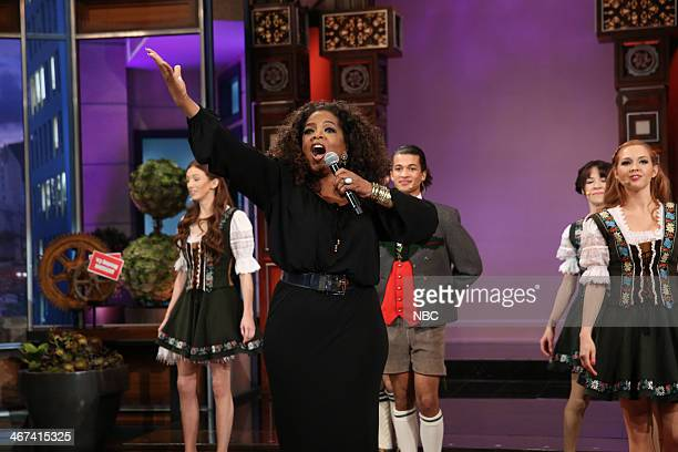 Oprah Winfrey performs during the 'Farewell Song' on February 6 2014