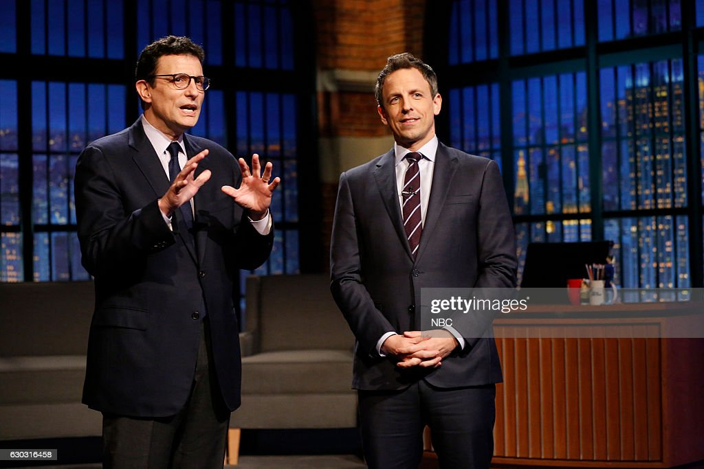 """NBC's """"Late Night With Seth Meyers"""" With Guests Michael Fassbender, David Remnick"""