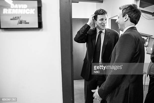 MEYERS Episode 465 Pictured Editor of The New Yorker David Remnick and host Seth Meyers talk backstage on December 20 2016
