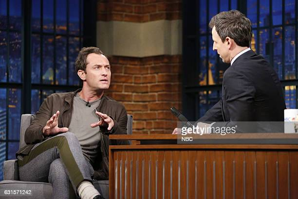 Actor Jude Law during an interview with host Seth Meyers on January 12 2017