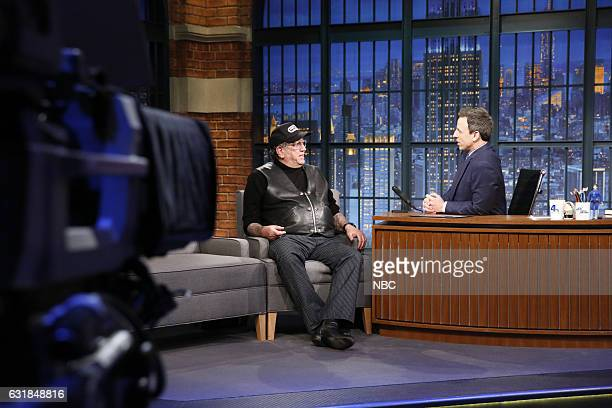 Musician Steve Jones during an interview with host Seth Meyers on January 16 2017