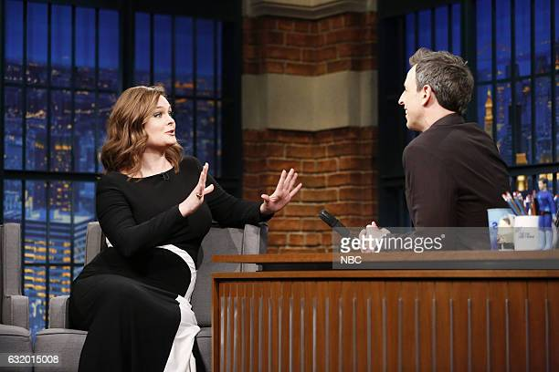 Actress Emily Deschanel during an interview with host Seth Meyers on January 18 2017