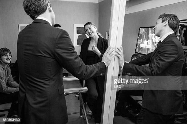MEYERS Episode 476 Pictured Host Seth Meyers talks with actress Melissa Benoist backstage on January 23 2017