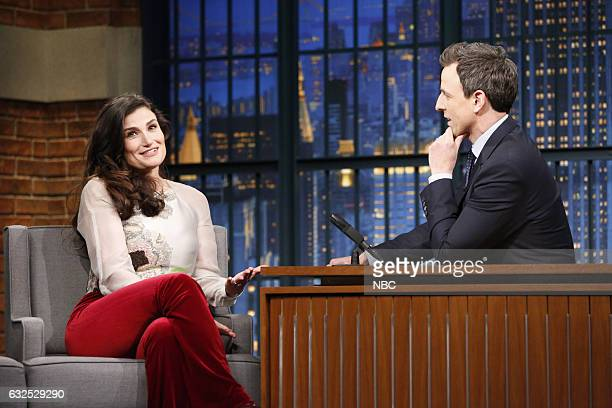 Singer Idina Menzel during an interview with host Seth Meyers on January 23 2017