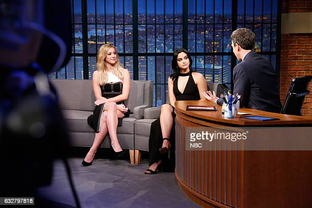 Actresses Lili Reinhart and Camila Mendes during an interview with host Seth Meyers on January 26 2017