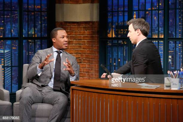 Actor Corey Hawkins during an interview with host Seth Meyers on January 30 2017