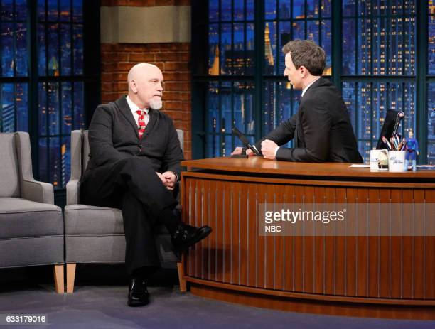 Actor John Malkovich during an interview with host Seth Meyers on January 30 2017