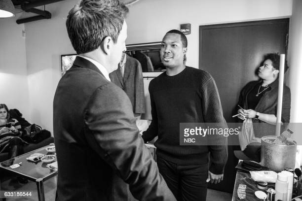 MEYERS Episode 480 Pictured Host Seth Meyers talks with actor Corey Hawkins backstage on January 30 2017
