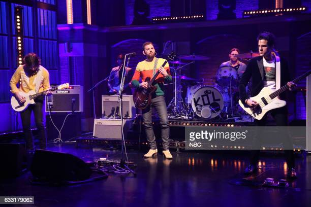 Musical guests Matthew Followill Caleb Followill Nathan Followill Jared Followill of Kings of Leon perform on January 30 2017