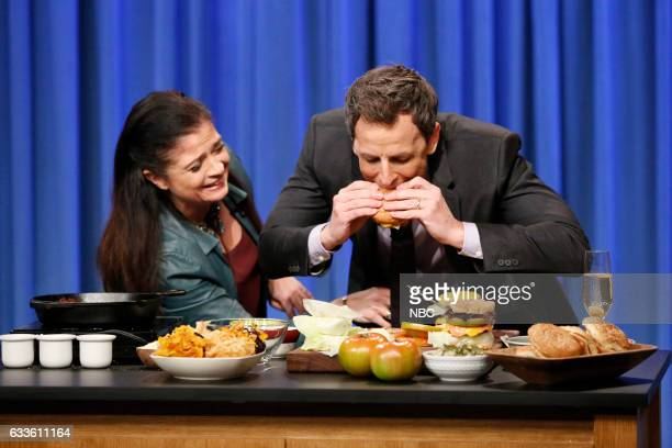 Chef Alex Guarnaschelli during a cooking segment with host Seth Meyers on February 2 2017