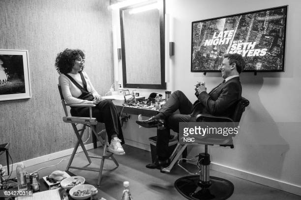 MEYERS Episode 484 Pictured Actress Tracee Ellis Ross talks with host Seth Meyers backstage on February 6 2017