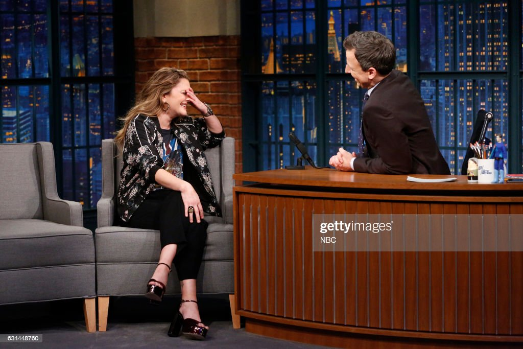 Actress Drew Barrymore during an interview with host Seth Meyers on February 9, 2017 --