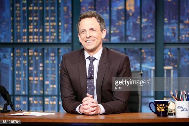Host Seth Meyers at his desk on February 9 2017