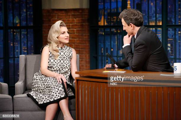 Actress Annaleigh Ashford during an interview with host Seth Meyers on February 14 2017
