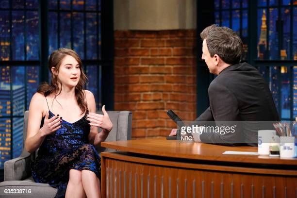 Actress Shailene Woodley during an interview with host Seth Meyers on February 14 2017