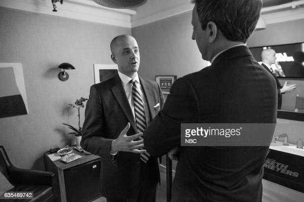 MEYERS Episode 489 Pictured Former CIA operations officer Evan McMullin talks with host Seth Meyers on February 14 2017