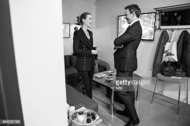 MEYERS Episode 494 Pictured Actress Leighton Meester talks with host Seth Meyers backstage on February 22 2017