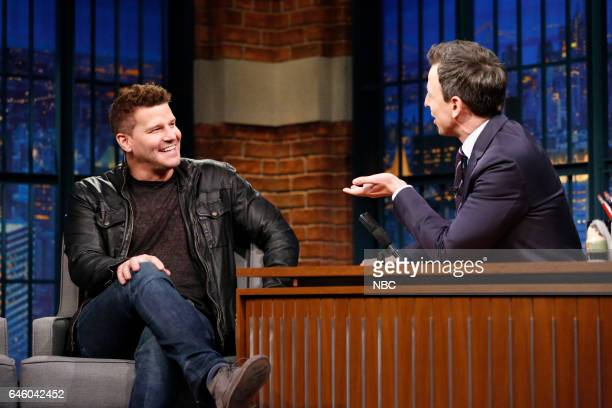 Actor David Boreanaz during an interview with host Seth Meyers on February 27 2017