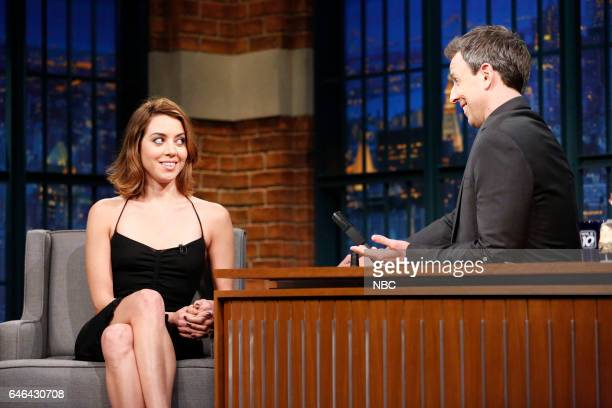 Actor Aubrey Plaza during an interview with host Seth Meyers on February 28 2017